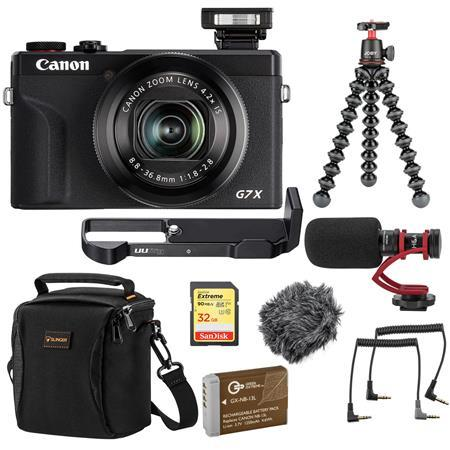 PowerShot G7 X Mark III Point and Shoot Camera, Black W/Mic And Acc Bundle
