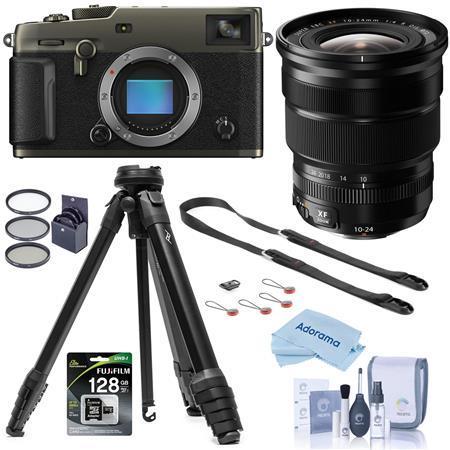 Fujifilm X-Pro3 Mirrorless Camera Dura Black With XF 10-24mm F4.0 Lens W/Tripod