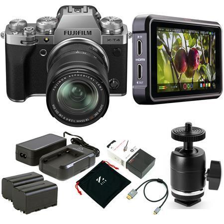 Fujifilm X-T4 Camera with XF 18-55mm f/2.8-4 R LM OIS Lens, Silver W/Monitor Kit