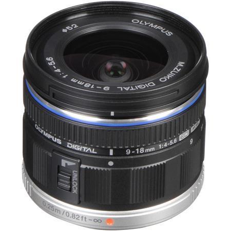 Olympus M. Zuiko Digital ED 9-18mm f4.0-5.6 Lens - Black - for Micro Four Thirds System