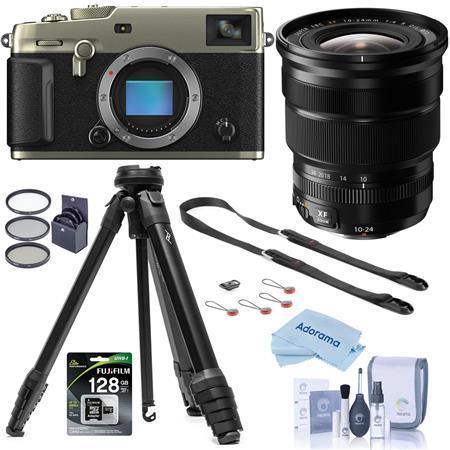 Fujifilm X-Pro3 Mirrorless Camera Dura Silver With XF 10-24mm F4.0 Lens W/Tripod