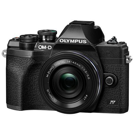 Olympus OM-D E-M10 Mark IV Camera with M.Zuiko Digital ED 14-42mm F3.5-5.6 EZ Lens, Black