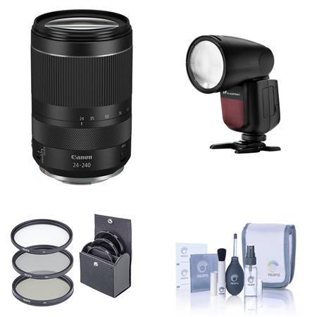 RF 24-240mm f/4-6.3 IS USM Lens With Flashpoint Zoom Li-on X R2 TTL Flash