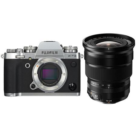 Fujifilm X-T3 Mirrorless Camera Body, Silver - Fujifilm XF 10-24mm (15-36mm) F4.0 OIS Lens, Black