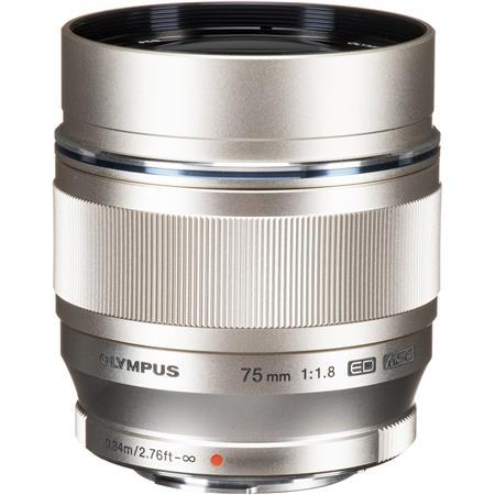 Olympus M. Zuiko Digital 75mm f/1.8 Lens, Silver - for Micro Four Thirds System