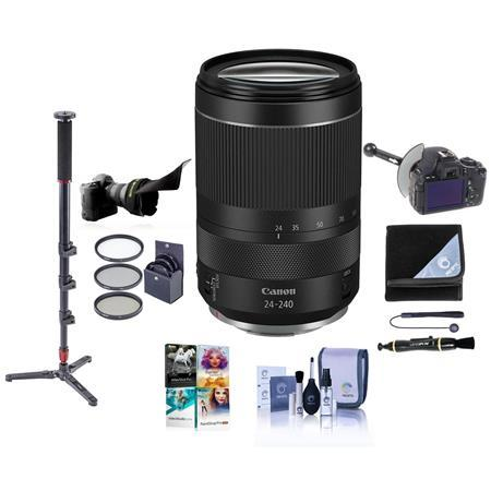 RF 24-240mm f/4-6.3 IS USM Zoom Lens, Kit with Monopod, Follow Focus, Filter Kit, Lens Wrap, More