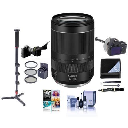 RF 24-240mm f/4-6.3 IS USM Zoom Lens, Kit with Monopod, Follow Focus, Filter Kit, Lens Wrap, More