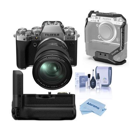 Fujifilm X-T4 Camera with XF 16-80mm f/4 R OIS WR Lens,Silver W/Battery Grip Kit