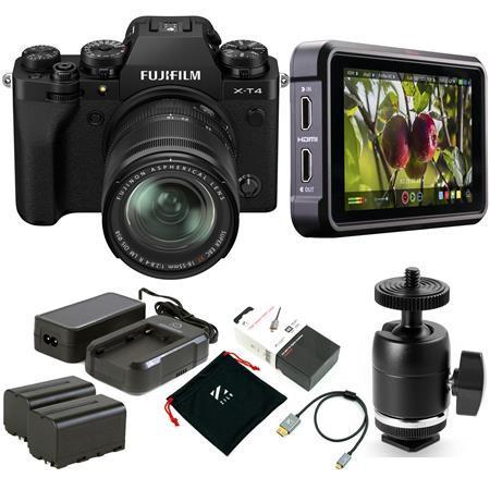 Fujifilm X-T4 Camera with XF 18-55mm f/2.8-4 R LM OIS Lens, Black W/Monitor Kit