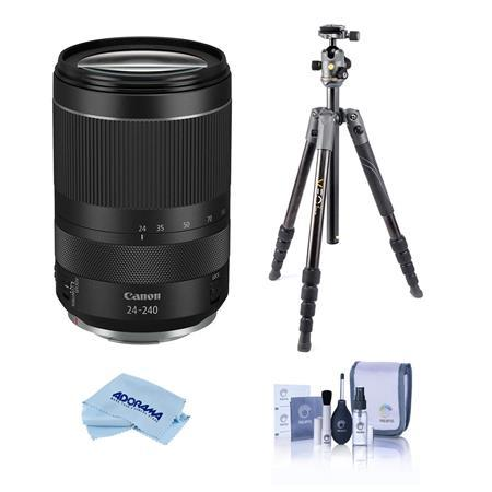 RF 24-240mm f/4-6.3 IS USM Zoom Lens, Kit with Vanguard Travel Tripod, and Cleaning Kit