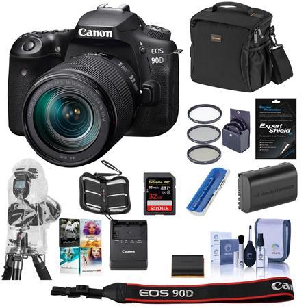 EOS 90D DSLR Camera with EF-S 18-135mm f/3.5-5.6 IS USM Lens W/Free PC Kit