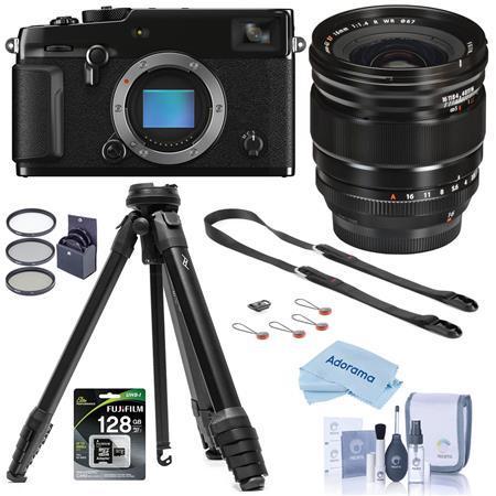 Fujifilm X-Pro3 Mirrorless Camera,Black With XF 16mm F1.4 R WR Lens W/Tripod Kit