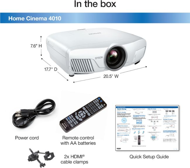 Home Cinema 4010 4K 3LCD Projector with High Dynamic Range