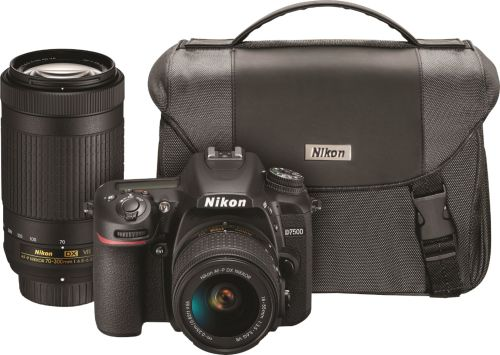 D7500 DSLR 4K Video Two Lens Kit with 18-55mm and 70-300mm Lenses - Black