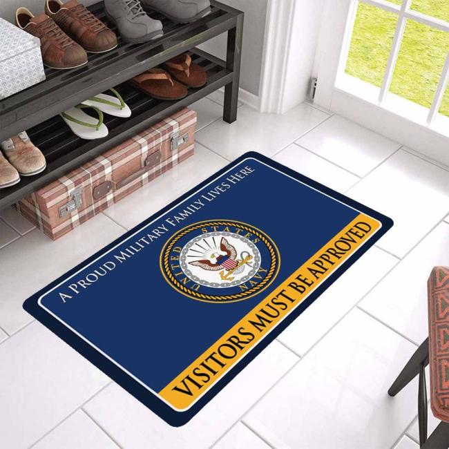 Proud Military Family Navy Doormat - Visitors must be approved