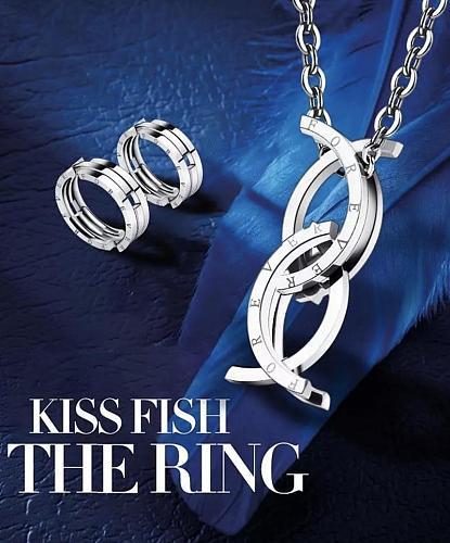 Unique Deformation Kissing Fish Ring