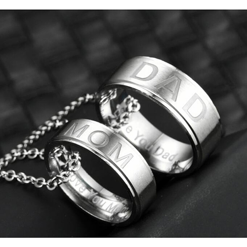 Mom or Dad Love You Ring Necklace