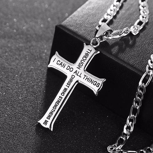 Philippians 4:13 Jewelry Stainless Steel Cross Necklace