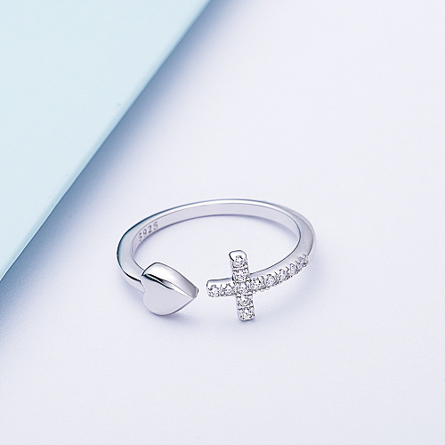 FAITH OVER FEAR CROSS & HEART RING