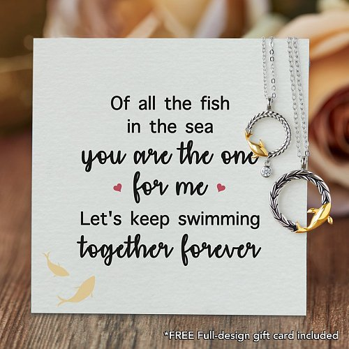 YOU ARE THE ONE FOR ME FISH COUPLE'S NECKLACES