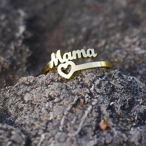 Vintage Mama Hollow Out Heart Ring