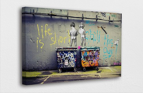 Banksy Art-Life is Short Chill The Duck Out Canvas Painting Art