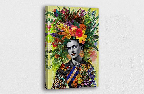 Frida Kahlo Bunch of Head Flowers Canvas Painting Art