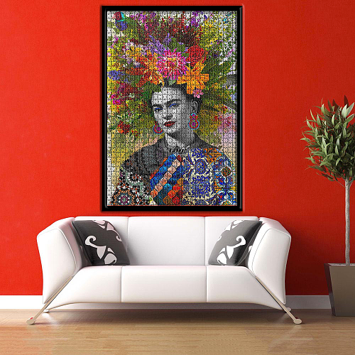 Frida Kahlo Bunch of Head Flowers inspiration Puzzle Jigsaw