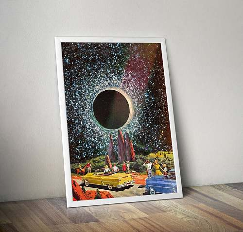 Sci Fi Celestial Vintage Collage 'First Contact'  Canvas Painting  Art