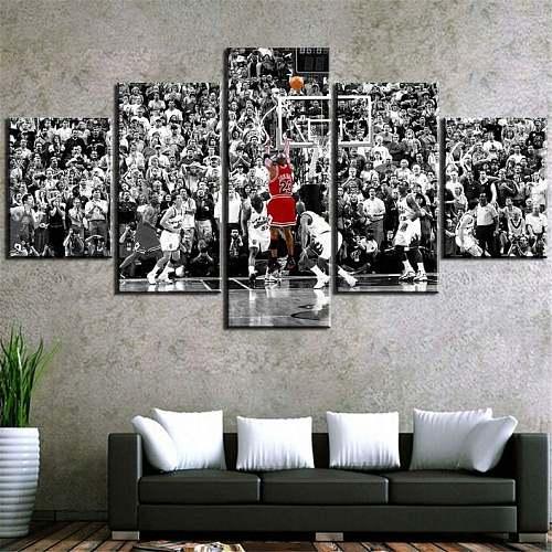 Michael Jordan Last Shot Poster 5 Panel Canvas Wall Art