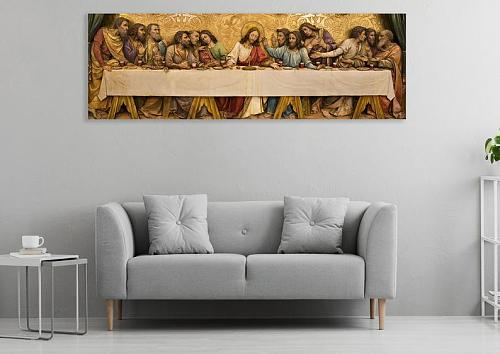 Last Supper Jesus 12 Disciples Panoramic Religious Poster Icon Classic Painting Canvas Print