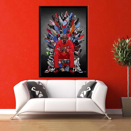 Michael Jordan Sneaker Throne Canvas Painting Art