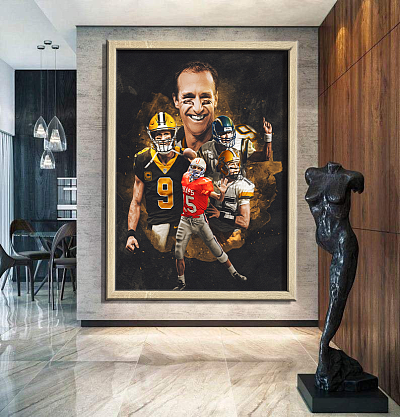 """Drew Brees""New Orleans Saints - inspiration Canvas Painting Art"