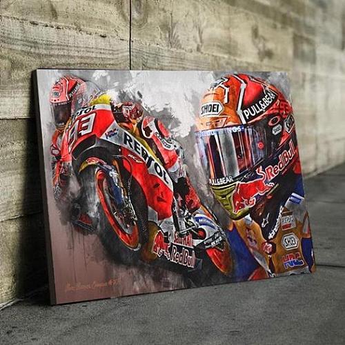 Marc Marquez Moto GP Champion 2017 Canvas Wall Art
