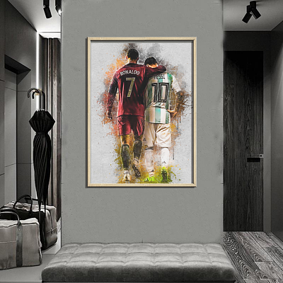 Messi And Ronaldo In The National Team Canvas Wall Art