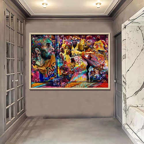 Kobe Bryant #24 Graffiti Lakers Collage Dream Canvas Painting Art