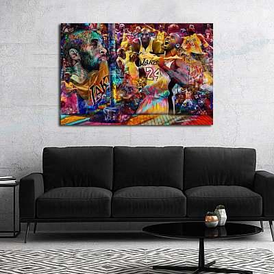 Kobe Bryant #24 Graffiti Lakers Collage Dream Canvas Painting Art