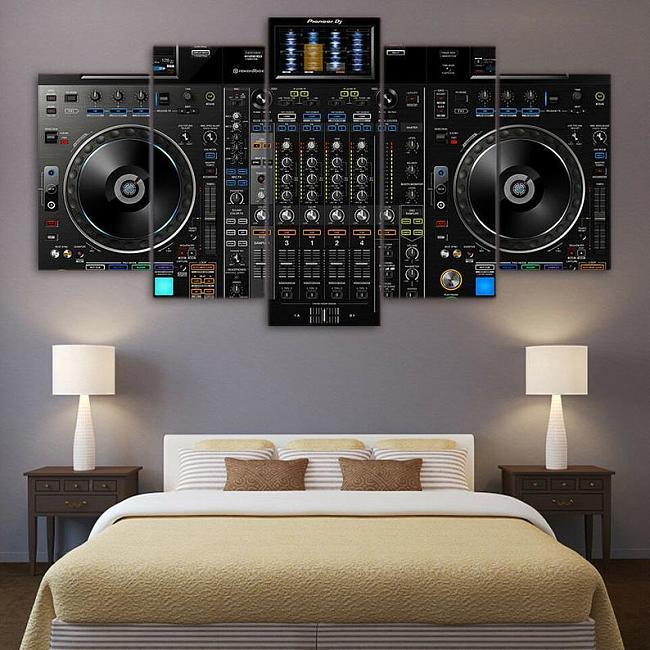 DJ Turntable Mixer Music Artist Canvas Five Piece Multi Panel Wall Art