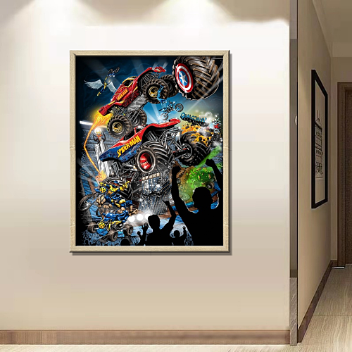 Marvel Monster Trucks Art Canvas
