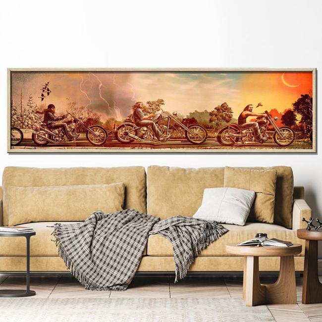 HARLEY DAVIDSON Panorama Print Canvas Art