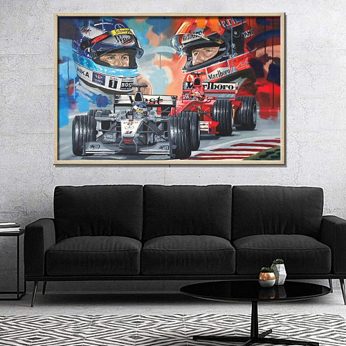 F1-Mika Hakkinen VS Michael Schumacher Limited edition Canvas Wall Art