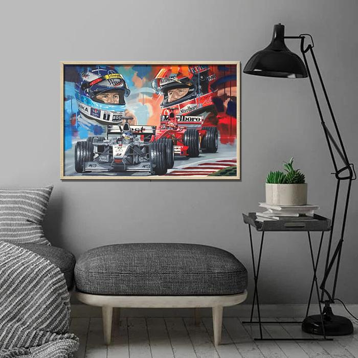 F1-Mika Hakkinen VS Michael Schumacher Limited edition Canvas Wall Art