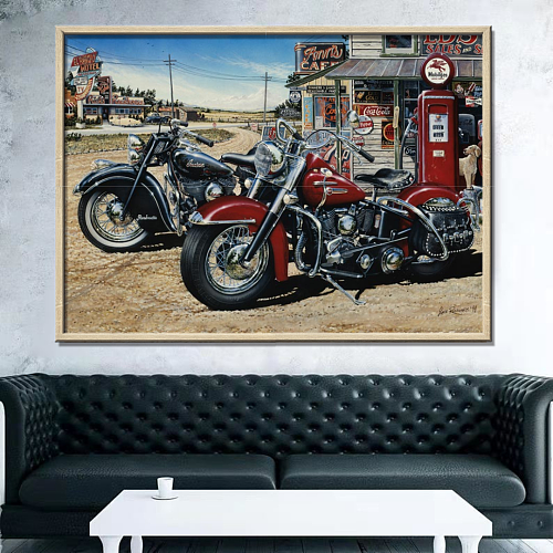 Harley Davidson-US Route 66 Canvas Wall Art