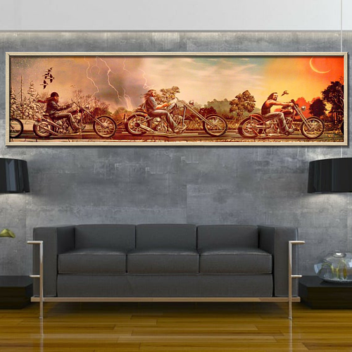 HARLEY DAVIDSON Panorama Print Canvas Art