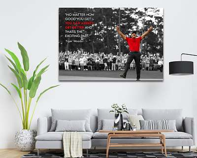 Tiger Woods Motivational Quote Canvas Painting Art
