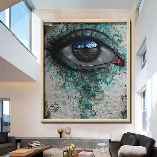 "Banksy ""Hesitating eyes""High Quality Canvas Art"