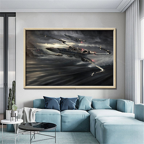 Star Wars X Wing Fighters Over Water Canvas Art