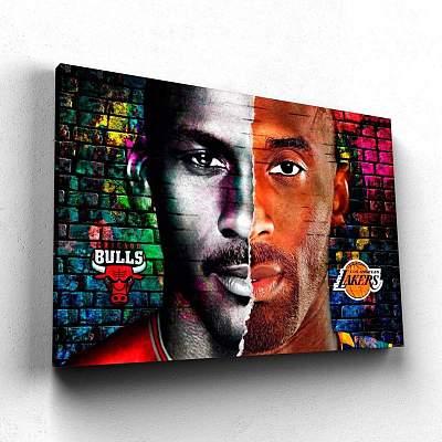 Kobe Bryant and Michael Jordan Canvas Wall Art