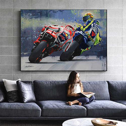 Marc Marquez VS Valentino Rossi MOTO GP Canvas Wall Art