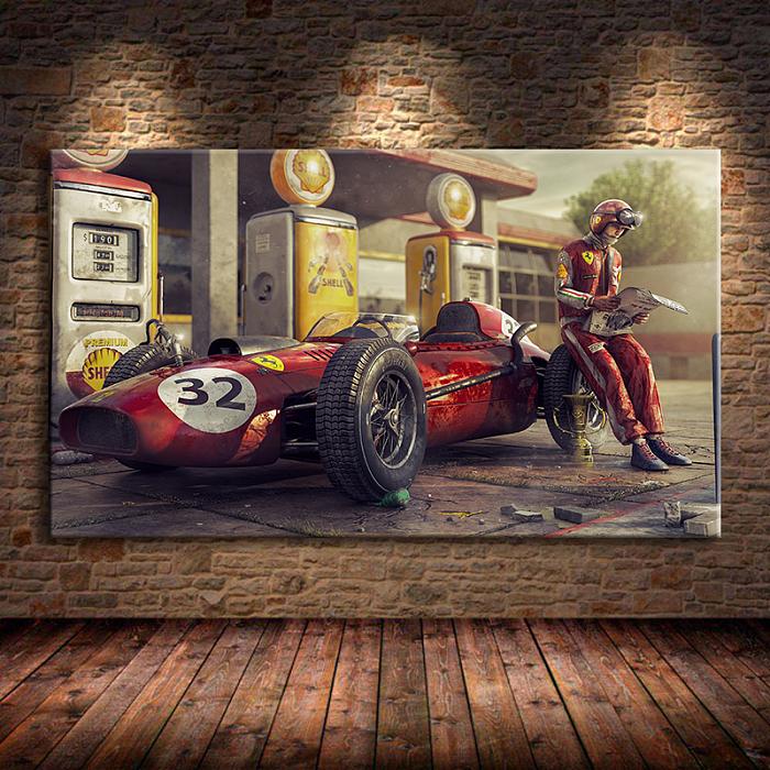 Classic Racing F1 Race Car Canvas Wall Art